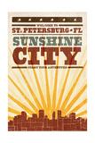 St Petersburg  Florida - Skyline and Sunburst Screenprint Style