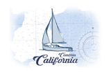 Cambria  California - Sailboat - Blue - Coastal Icon