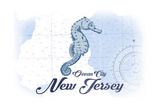 Ocean City  New Jersey - Seahorse - Blue - Coastal Icon