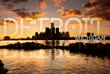 Detroit  Michigan - Orange Sky and Skyline