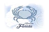 Sarasota  Florida - Crab - Blue - Coastal Icon