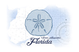 Saint Augustine  Florida - Sand Dollar - Blue - Coastal Icon