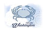 Seattle  Washington - Crab - Blue - Coastal Icon