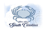 Hilton Head  South Carolina - Crab - Blue - Coastal Icon
