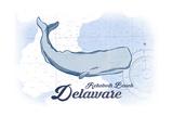 Rehoboth Beach  Delaware - Whale - Blue - Coastal Icon