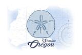 Seaside  Oregon - Sand Dollar - Blue - Coastal Icon