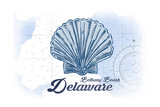 Bethany Beach  Delaware - Scallop Shell - Blue - Coastal Icon