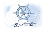 Rehoboth Beach  Delaware - Ship Wheel - Blue - Coastal Icon