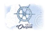 Seaside  Oregon - Ship Wheel - Blue - Coastal Icon