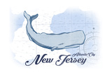 Atlantic City  New Jersey - Whale - Blue - Coastal Icon
