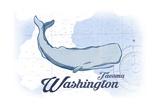 Tacoma  Washington - Whale - Blue - Coastal Icon