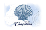San Clemente  California - Scallop Shell - Blue - Coastal Icon