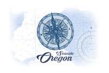 Seaside  Oregon - Compass - Blue - Coastal Icon