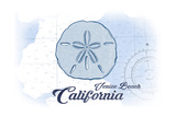 Venice Beach  California - Sand Dollar - Blue - Coastal Icon