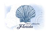 Saint Augustine  Florida - Scallop Shell - Blue - Coastal Icon