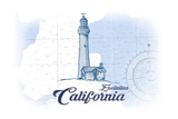 Encinitas  California - Lighthouse - Blue - Coastal Icon