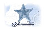 Tacoma  Washington - Starfish - Blue - Coastal Icon