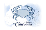 Malibu  California - Crab - Blue - Coastal Icon