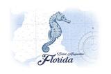 Saint Augustine  Florida - Seahorse - Blue - Coastal Icon