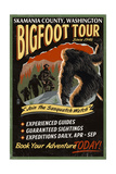 Skamania County  Washington - Bigfoot Tours - Vintage Sign