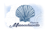 Plymouth  Massachusetts - Scallop Shell - Blue - Coastal Icon