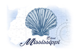 Biloxi  Mississippi - Scallop Shell - Blue - Coastal Icon