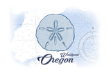 Waldport  Oregon - Sand Dollar - Blue - Coastal Icon