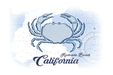Redondo Beach  California - Crab - Blue - Coastal Icon
