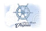Virginia Beach  Virginia - Ship Wheel - Blue - Coastal Icon