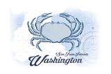 San Juan Islands  Washington - Crab - Blue - Coastal Icon