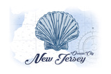 Ocean City  New Jersey - Scallop Shell - Blue - Coastal Icon