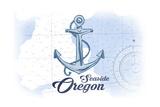 Seaside  Oregon - Anchor - Blue - Coastal Icon