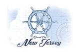 Ocean City  New Jersey - Ship Wheel - Blue - Coastal Icon