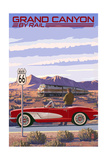 Grand Canyon Railway  Arizona - Route 66 - Corvette with Red Rocks