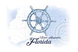 Saint Augustine  Florida - Ship Wheel - Blue - Coastal Icon