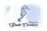 Charleston  South Carolina - Seahorse - Blue - Coastal Icon