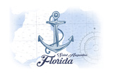 Saint Augustine  Florida - Anchor - Blue - Coastal Icon