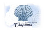 Hermosa Beach  California - Scallop Shell - Blue - Coastal Icon