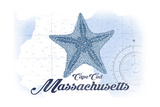 Cape Cod  Massachusetts - Starfish - Blue - Coastal Icon