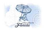 Saint Augustine  Florida - Beach Chair and Umbrella - Blue - Coastal Icon