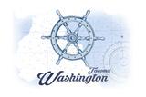 Tacoma  Washington - Ship Wheel - Blue - Coastal Icon
