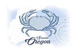 Seaside  Oregon - Crab - Blue - Coastal Icon