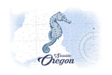 Seaside  Oregon - Seahorse - Blue - Coastal Icon