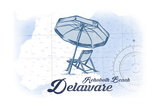 Rehoboth Beach  Delaware - Beach Chair and Umbrella - Blue - Coastal Icon