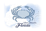 Saint Augustine  Florida - Crab - Blue - Coastal Icon