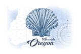 Seaside  Oregon - Scallop Shell - Blue - Coastal Icon