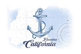 Encinitas  California - Anchor - Blue - Coastal Icon
