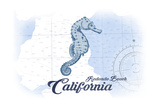 Redondo Beach  California - Seahorse - Blue - Coastal Icon