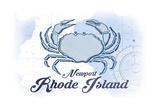 Newport  Rhode Island - Crab - Blue - Coastal Icon