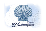 Seattle  Washington - Scallop Shell - Blue - Coastal Icon